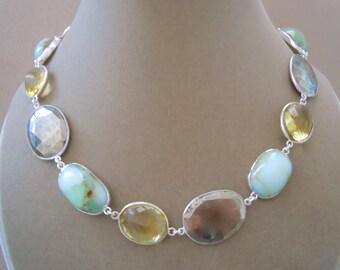 Islamorada -- One of a Kind -- Chrysoprase, Pyrite, Lemon Quartz Connector Necklace
