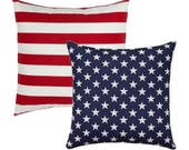 American Flag OUTDOOR Pillow, Reversible Throw Pillow, Stars and Stripes STUFFED Pillow, Memorial Day Pillow, Patriotic Decor Free ship