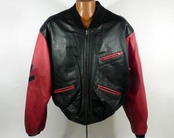 Colorblock Leather Coat Vintage 1990s Jacket Phillipe Marcel Men's size M