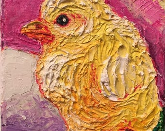 Baby Yellow Chick 4x5 Original Impasto Oil Painting by Paris Wyatt Llanso