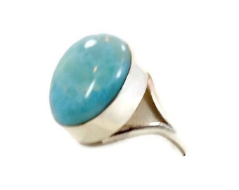 ON SALE Larimar Ring, Sterling Silver, Vintage Ring, Big Stone, Dolphin Stone, Size 9, Boho Ring, Statement Ring,  InVintageHeaven