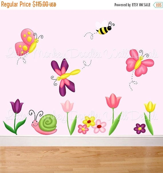 Spring SALE Fabric WALL DECALS Tulip Butterfly Garden Flowers Butterflies Bugs Girl's Bedroom Playroom Baby Nursery Kids Wall Art Decals