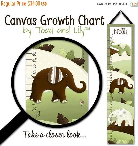 Spring SALE Canvas GROWTH CHART Mod Green and Brown Elephant Kids Bedroom Baby Nursery Wall Art Gc0052