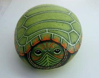 Snapping Turtle-unique ooak 3D garden art-doorstop-hand painted pet rocks-garden decor-gift for gardener-naturalist-figurine-collectible