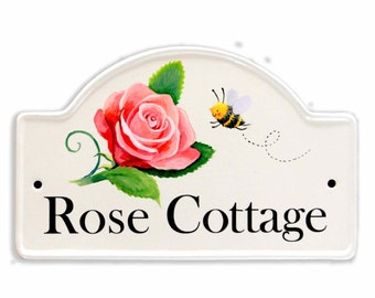 personalised hand illustrated house plaque, house number, house name plaque on ceramic base