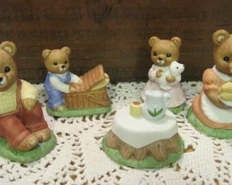Complete Set of Vintage Homco Teddy Bears Picnic Number 1462