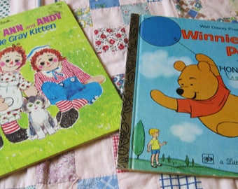 Two Sweet Vintage 1978 Golden Books Raggedy Ann and Winnie the Pooh