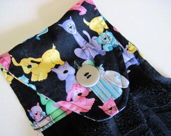 Hanging Button top towel  oven door black towel cats  and dogs