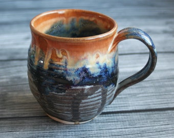RESERVED for Amie and Brian's Wedding Registry - Handcrafted Pottery Mug with Dripping Gold, Blue and Gray Glazes Wheel Thrown Coffee Cup