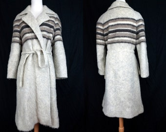 1970s Hilda Icelandic Wool Jacket Striped Heather Grey Knee Length Belted Trench Sweater Knit