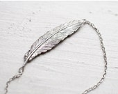 Silver Feather necklace - Feather jewelry (N047)