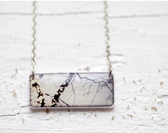 Tree branches necklace - Grey necklace - Winter Bokeh necklace - Photo pendant (N075)