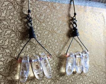 Angel Wings Rustic Multi Metal Black Steel and Sterling  Clear Natural Quartz Earrings