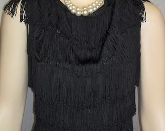 Vintage 1950s Black Fringe Tap Jazz Dance Costume Top and Shorts