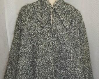 ON SALE Vintage Boucle Wool Cape Capelet Black Gray Medium Large