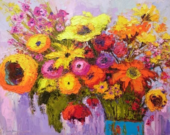 Flower arrangement painting, Floral still life, colorful painting, holiday gift idea, flower bouquet artwork, 16x20, yellow flowers
