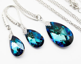 Bermuda Blue Jewelry Set, Earrings Necklace, Bridesmaids Bridal Jewelry, Pear Swarovski Crystal, White Gold Sterling