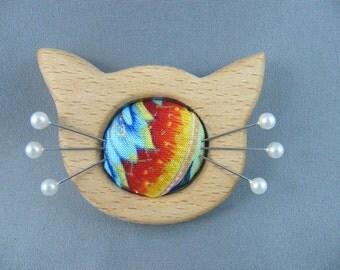 SOLD Colourful Cat Mini Pinnie/ Pincushion/Needlekeeps/Ornament