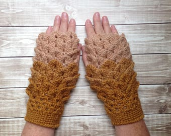 Brown and Gold Women's Fingerless Gloves, Ladies Dragon Gloves