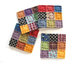 Quilted Fabric Coasters for Rustic Primitive Country Home Decor - Farmhouse Decor - Housewarming or Hostess Gift