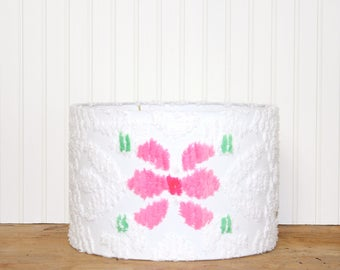 Floral Chenille Lamp Shade - Drum Shade - White and Pink Lamp Shade - Shabby Chic - Cottage Decor - Vintage Chenille Fabric - SWEET