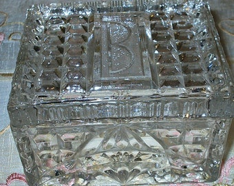 Gorgeous Crystal Lidded Box - Jewelry Box - Storage Box - Square - Vintage - 1940 Era