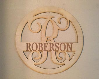 Unfinished Wood Engraved Name Monogram Circle Frame Vine Letter 17.5 diameter Door Hanger