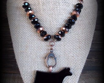 Black Glass Show Steer, Cattle Pendant on Leather And Glass Bead Necklace approx 21""