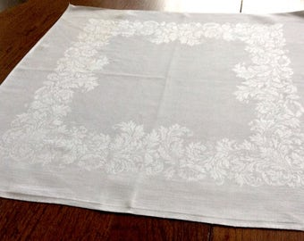 12 Large White Damask Linen Napkins 22 Inches