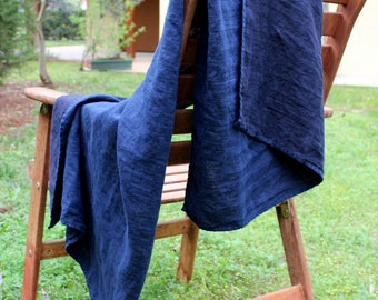 100% Linen Bath Towel in Dark Navy Blue Herringbone | Soft Stone Washed Natural Flax Bathroom Linens | Fast Drying Travel Towels for Men