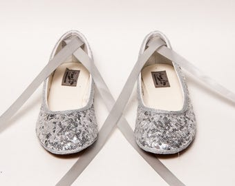 Tiny Sequin - Silver Ballet Flats Slippers Shoes With Matching Ribbons