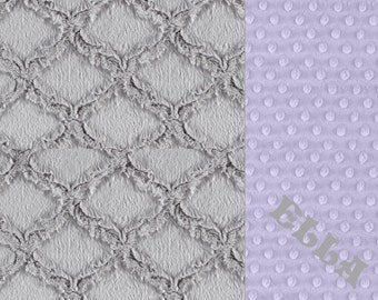 Personalized Baby Blanket / Minky Girl Baby Blanket  Lavender Gray Lattice // Minky Baby Blanket // Choose Your Own Colors