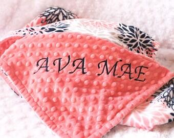 42 x 55 Minky Blanket Girl, Coral Bloom Flower Personalized Baby Blanket Crib size Girl // Coral Baby Blanket