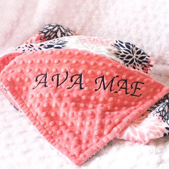 Personalized Baby Blanket / 42 x 55 Minky Blanket Girl, Coral Bloom Flower Blanket / Crib size Girl // Coral Baby Blanket / Baby Shower Gift