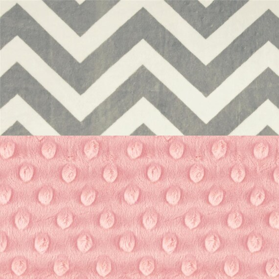 Chevron Baby Lovey, Minky Blanket Lovey, Personalized Baby Blanket Girl, Pink Gray Chevron Blanket, Tag Blanket Burp Cloth Mini Baby Blanket