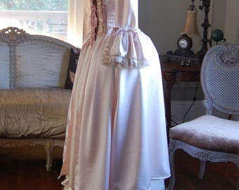 Pink and cream satin Marie Antoinette Victorian inspired rococo costume dress halloween