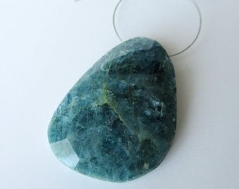 New Year SALE Natural Teal Aquamarine faceted focal briolette- 25x35mm