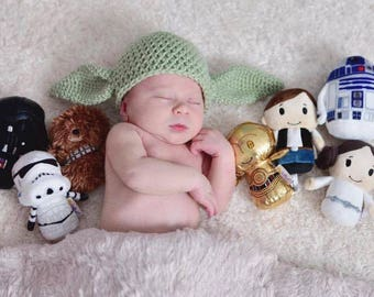 Baby Alien Hat,  Goblin Hat, Yoda Inspired Hat, Newborn to 3 Months Crochet Baby Photo Prop