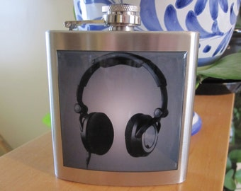 Head Phones Headphones Liquor Hip Flask Stainless Steel