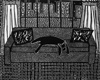Riverside Drive Linoleum Print by Coco Berkman Dogs on Sofas series