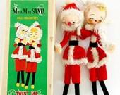 SALE 30% OFF CHRISTMAS Vintage Dolls Christmas Ornaments Santa and Mrs Claus Twist Me Original Box