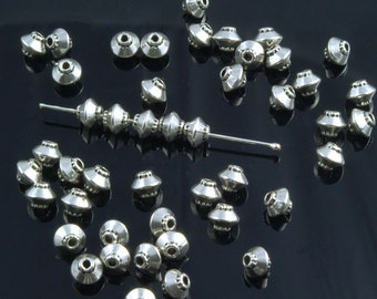 Smooth Pewter Bicone Beads Silver Plated 5mm - 50