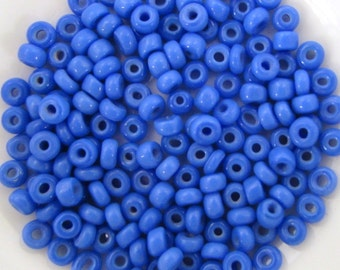Vintage Czech Glass Seed Bead Sapphire Blue Rocailles Opaque Size 6/0 gsb0171 (10 grams)
