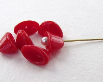 Vintage Beads Glass Bead Caps Red Flat Oval West Germany 12x7mm vgb1159 (6)