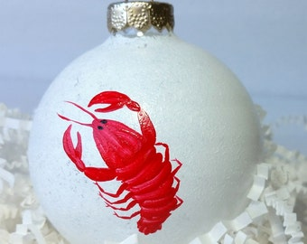 Christmas Ornament, Maine Lobster on glass Snowball ornament