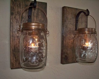 Wall Decor set of 2 mason jar candle holders on wood boards. Home decor. Bedroom decor. Housewarming gift. Wedding gift.