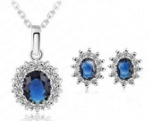 Bridesmaid Valentine Gift Mother Wife Sapphire Blue Rhinestone Crystal silver plated Jewelry set Necklace Earrings with custom cards and box
