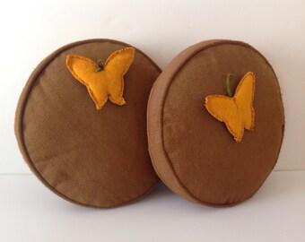 Pair Vintage Round Brown Throw Pillows Mid Century Retro With Butterflies