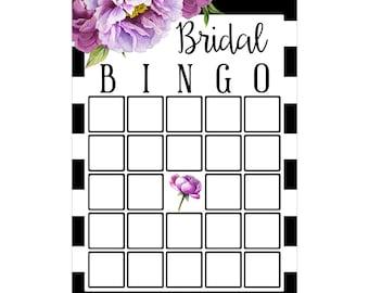 Digital Printable Bridal Shower Bingo Game with Purple Flowers on Black BNG001