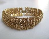 Golden Sunset pebbled link vintage bracelet by Sarah Coventry